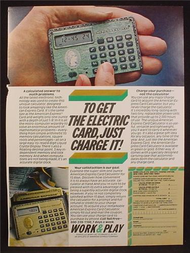 Magazine Ad For American Express Credit Card Calculator, 1980, 8 1/8
