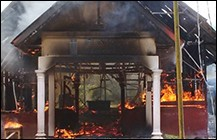 Ache churches destroyed - imagge from Open Doors Aust