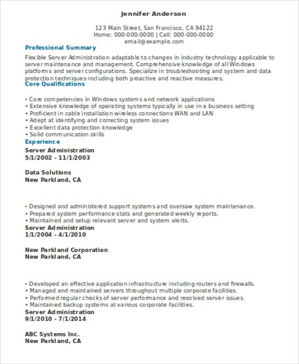 server resume highlights