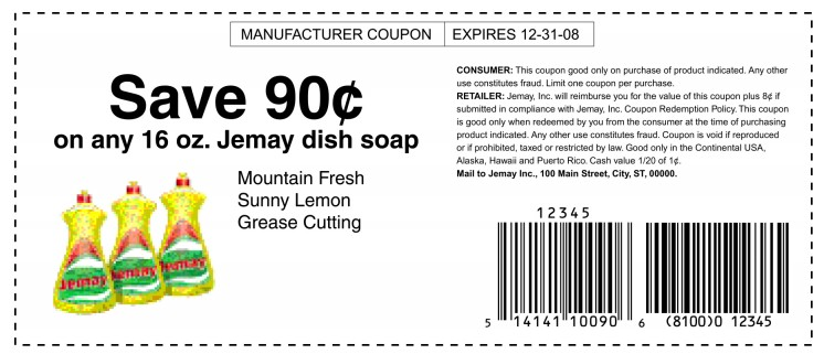 Sample Coupon Bar Codes - coupon format