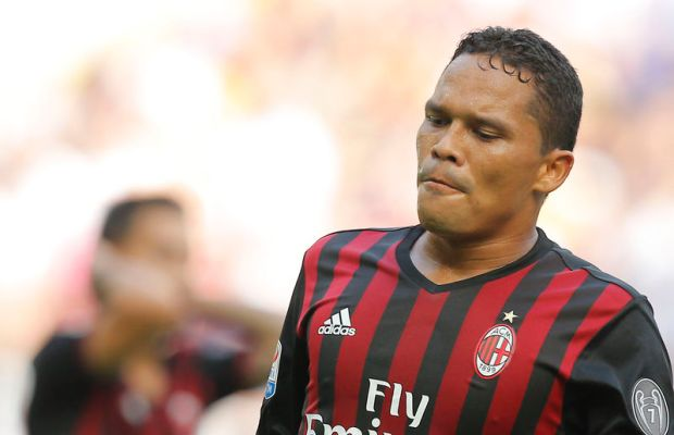 AC Milan's Colombian forward Carlos Bacca reacts during the Italian Serie A football match AC Milan Vs Udinese on September 11, 2016 at the San Siro stadium in Milan.  / AFP / MARCO BERTORELLO        (Photo credit should read MARCO BERTORELLO/AFP/Getty Images)