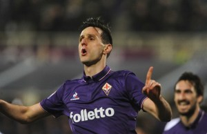 FLORENCE, ITALY - FEBRUARY 27 : Nikola Kalinic of ACF Fiorentina celebrates after scoring a goal during Italian Serie A soccer match between ACF Fiorentina and Torino FC at Stadio Artemio Franchi in Florence, Italy on February  27, 2017. Carlo Bressan / Anadolu Agency