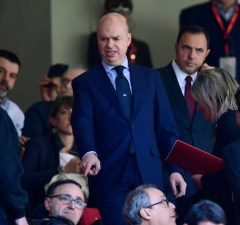 Marco Fassone (C), new Ceo of AC Milan is seen in the stands during the Italian Serie A football match AC Milan vs Empoli at the San Siro stadium in Milan on April 23, 2017. / AFP PHOTO / MIGUEL MEDINA