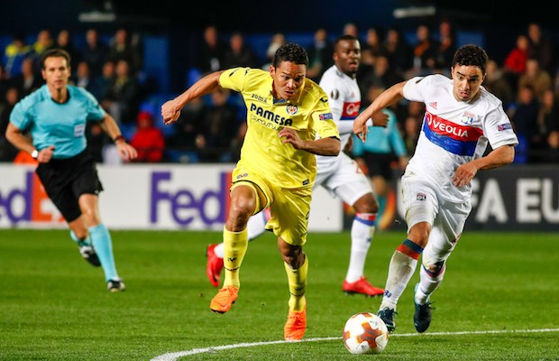 Carlos Bacca of Villarreal and Rafael of Olympique Lyonnais during the UEFA Europa League, round of 32, 2nd leg football match between Villarreal CF and Olympique Lyonnais on february 22, 2018 at Ceramica Stadium in Vila-real, Spain - Photo Oscar J Barroso / Spain DPPI / DPPI