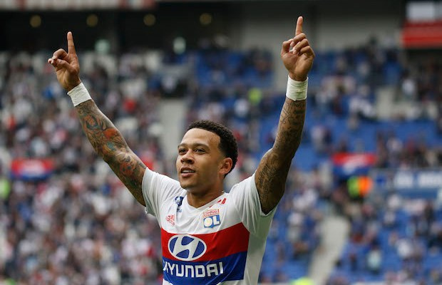 Depay Memphis of Lyon during the French Championship Ligue 1 football match between Olympique Lyonnais and FC Nantes on April 28, 2018 at Groupama Stadium in DÈcines-Charpieu near Lyon, France - Photo Romain Biard / Isports / DPPI