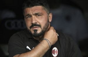 AC Milan's Italian coach Gennaro Gattuso attends the Santiago Bernabeu Trophy football match between Real Madrid and AC Milan in Madrid on August 11, 2018. / AFP PHOTO / GABRIEL BOUYS