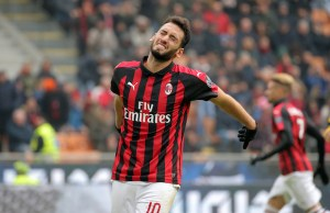 Hakan Calhanoglu #10 of AC Milan reacts to a missed chance during the serie A match between AC Milan and Parma Calcio 1913 at Stadio Giuseppe Meazza on December 02, 2018 in Milan, Italy. (Photo by Giuseppe Cottini/NurPhoto)