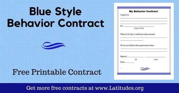 FREE Printable Behavior Contracts for Students ACN Latitudes