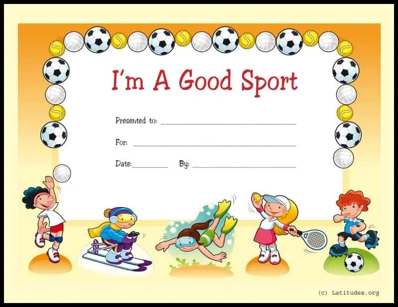FREE Award Certificate - I\u0027m a Good Sport (Primary) ACN Latitudes