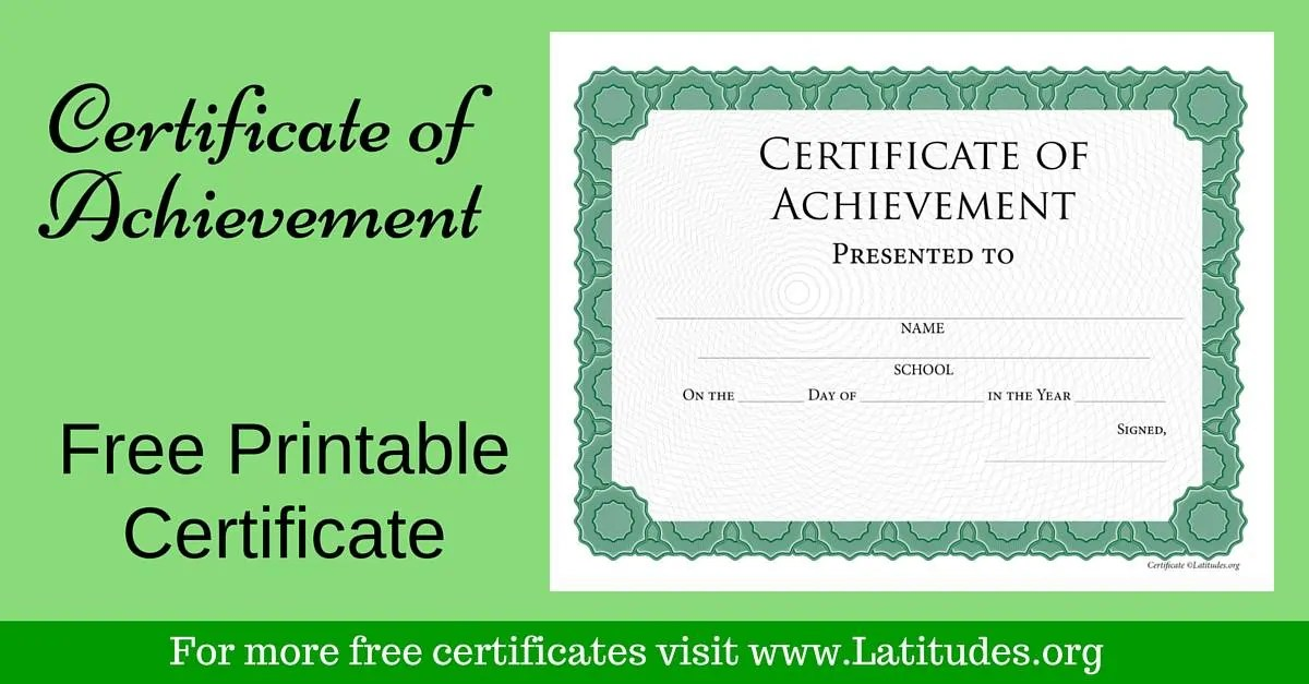 FREE Achievement Certificate (Intermediate Green) ACN Latitudes