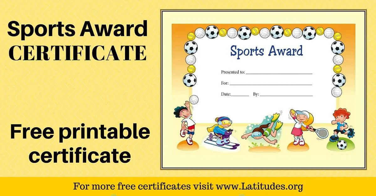 FREE Sports Award Certificate (Primary) ACN Latitudes