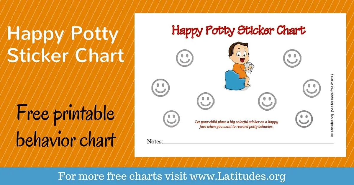 FREE Potty Training Sticker Chart (Happy Boy) ACN Latitudes