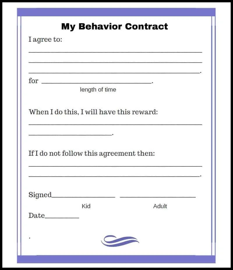 Behavior Contract With Rewards | Cv Templates For Non Graduates
