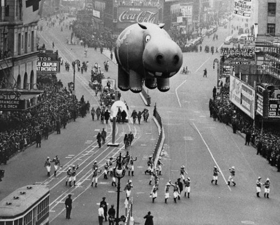 Hippo Balloon Floating at the Thanksgiving Day Parade