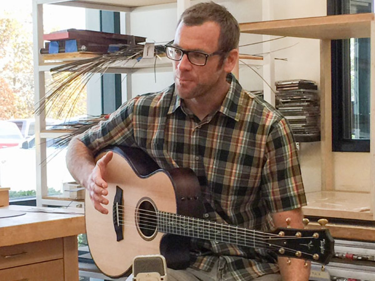 Powers talks guitar construction in his workshop at Taylor.