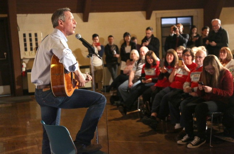 Presidential candidate Martin O'Malley sings the Iowa Waltz during a Jan. 25 campaign stop at Simpson College.