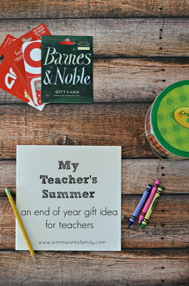 End of Year Teacher Gifts Summer Book of Gift Cards