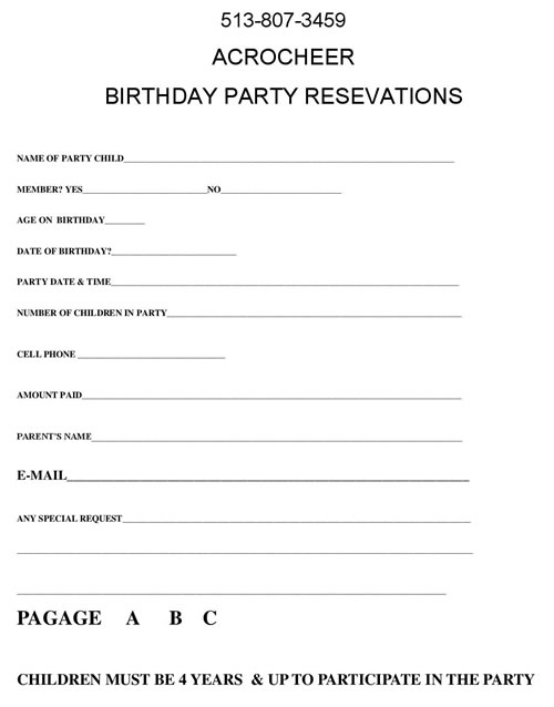 Registration Forms  Waivers for special events - registration forms