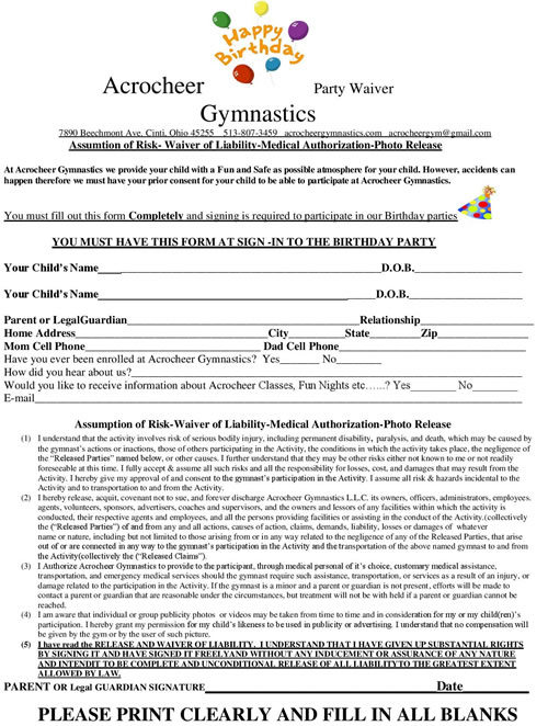 Registration Forms  Waivers for special events - liability waiver forms