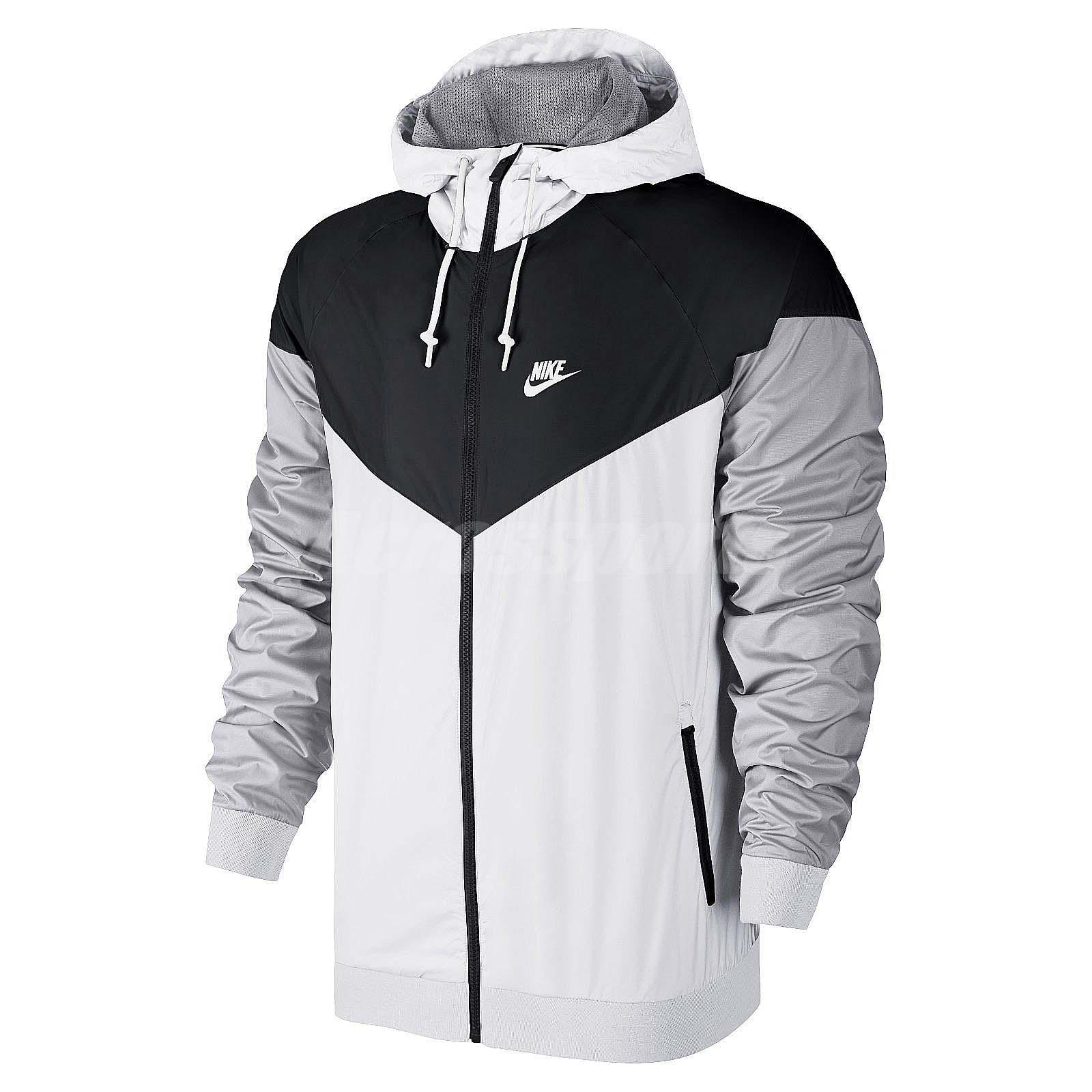 Asian size nike as windrunner black white grey mens nsw jacket hoodie 727325 101