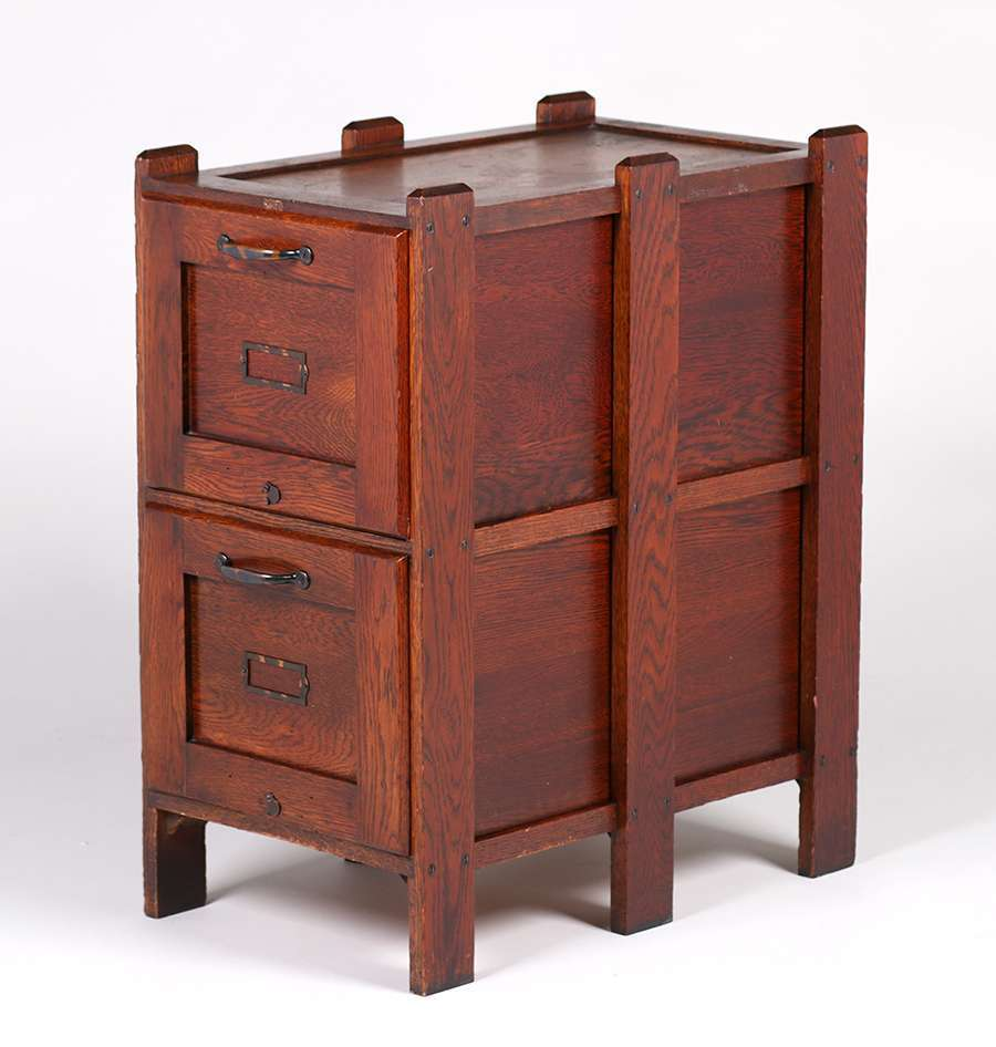 Weis Furniture Co Oak Two Drawer File Cabinet C1910 California Historical Design
