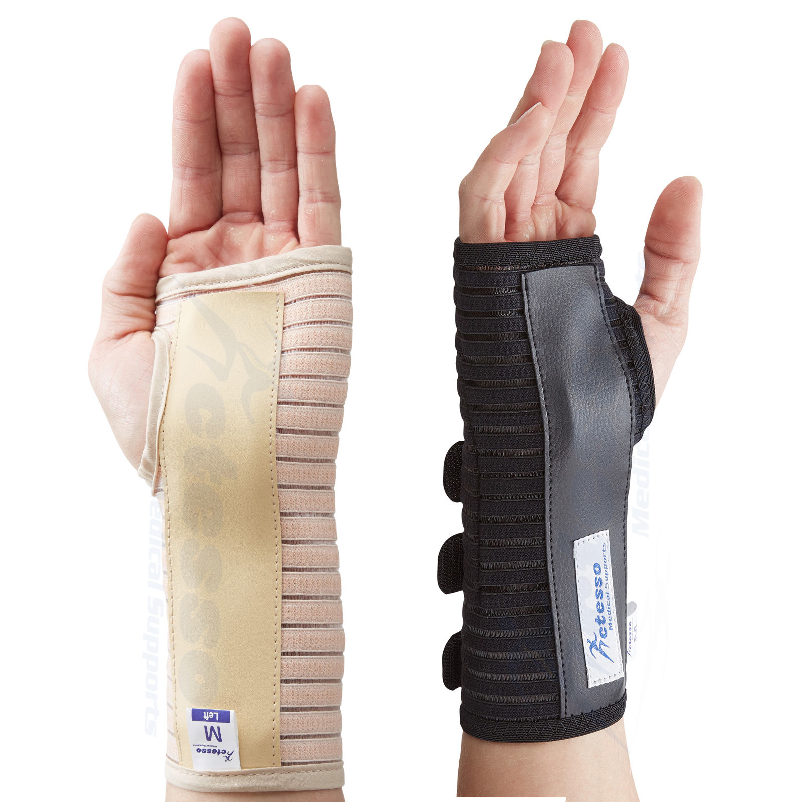 Actesso breathable wrist support brace splint carpal tunnel syndrome beige black
