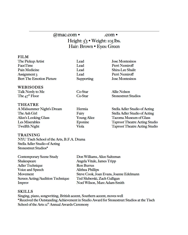 background actor resume sample