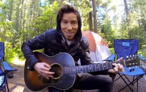 Shaun White strumming on the 'ol six string while on a family outing.