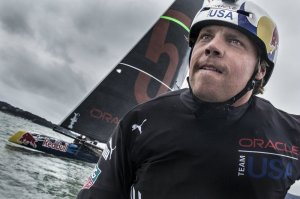 Travis Rice bites his competitive lip while racing as honorary captain against fellow Red Bull athlete Jamie O'Brien in a friendly scrimmage of the two Oracle Red Bull America's Cup sailing teams. Rice won 2 races to 1.