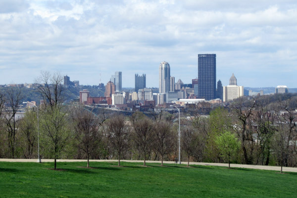 schenley park overlooks the downtown pittsburgh city skyline