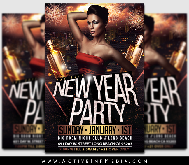 New Year Night Club Flyer Template Active Ink Media