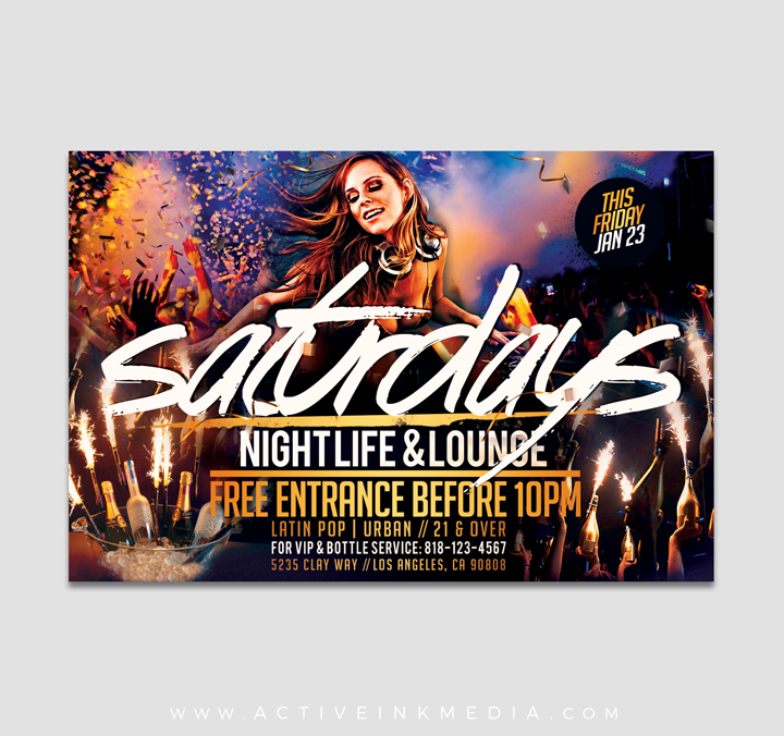 Night Club Saturday Flyer Template Active Ink Media