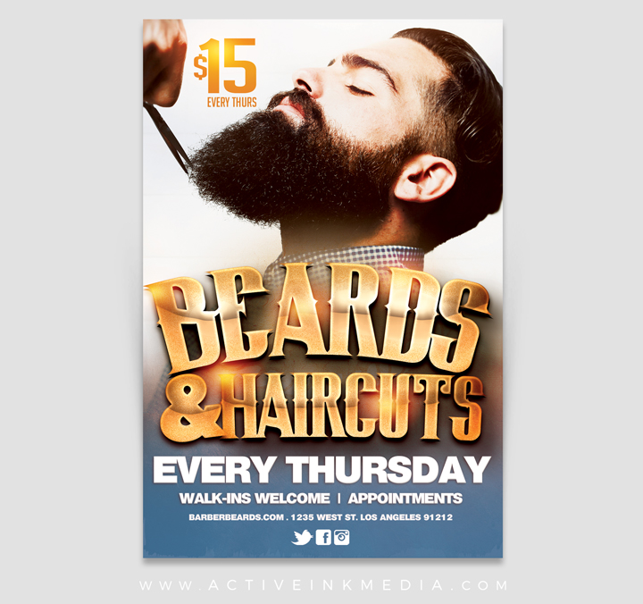 Barber Beard  Haircut Promotion Flyer Template Active Ink Media - promotion flyer