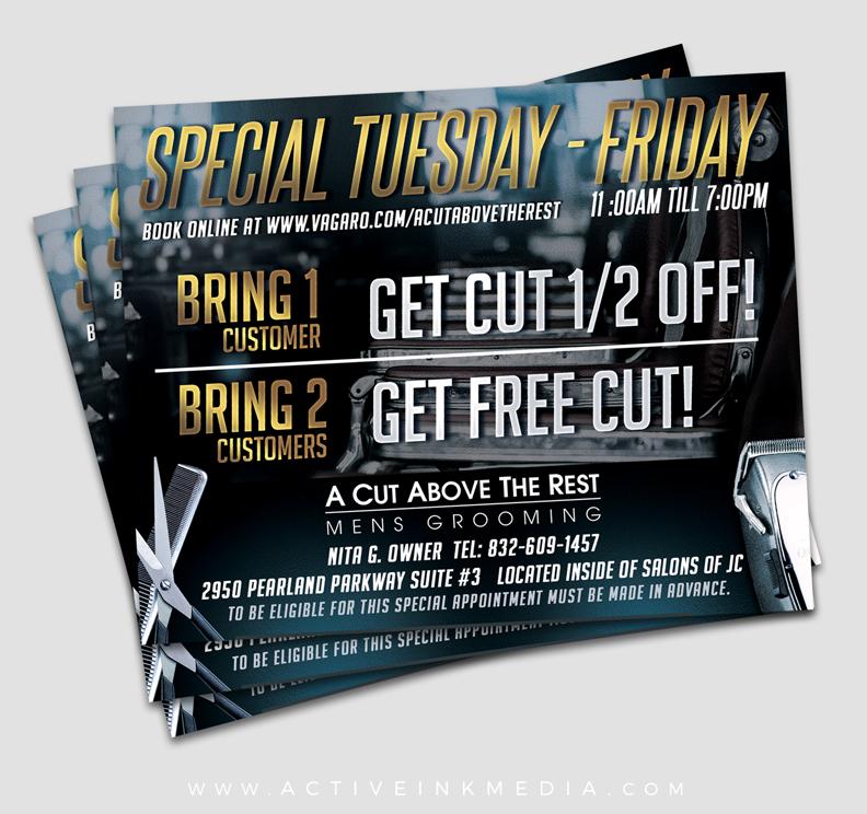 Barber Promo Free Cut Flyer Active Ink Media