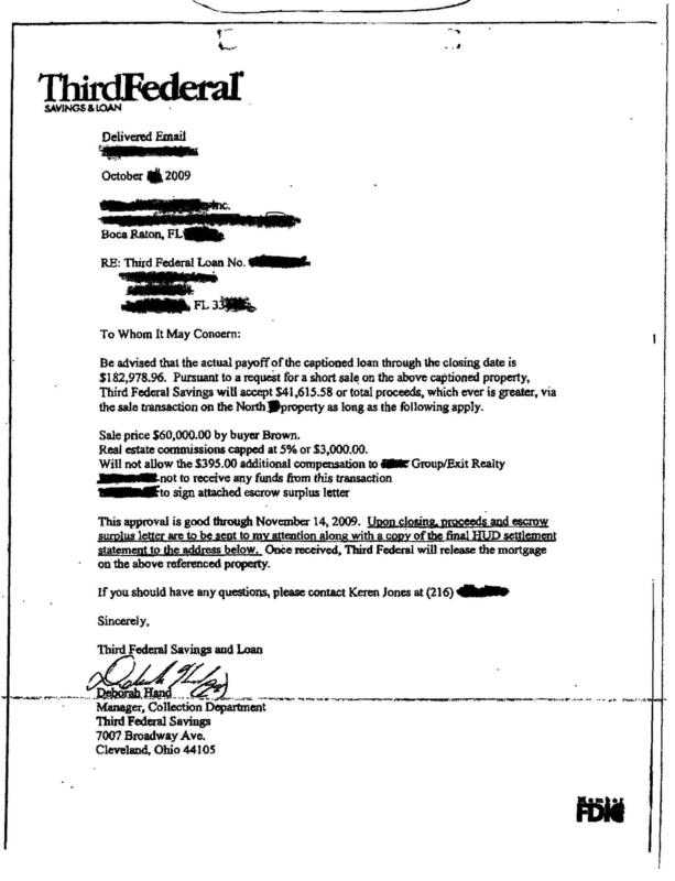 SHORT SALE APPROVAL LETTER MISREPRESENTATIONS - PROMISSORY NOTE