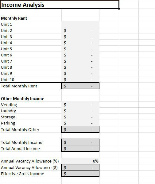 Rental Cash Flow Analysis Spreadsheet for Excel