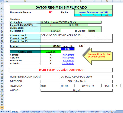 formato factura en excel gratis 7 formato de facturas control en - formato de factura de venta