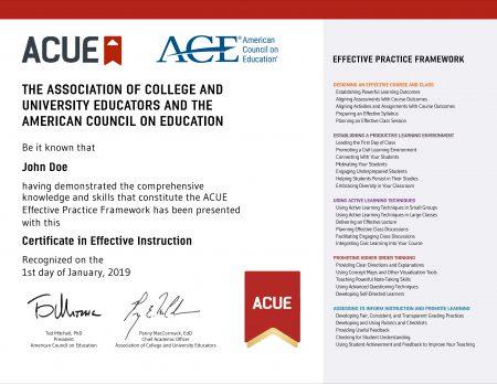 Certificates - ACUE
