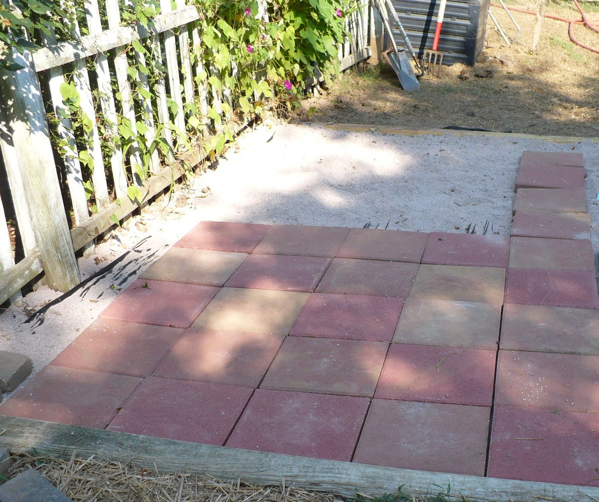 ... The Patio In The Vegetable Garden Diy Patio Pavers Laying Patio Pavers  ...