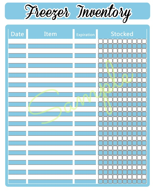 free printable freezer inventory sheet - inventory sheets printable
