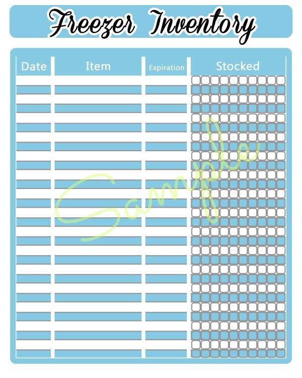 free printable freezer inventory sheet