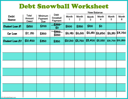 Free Printable Debt Snowball Worksheet- Pay Down Your Debt!