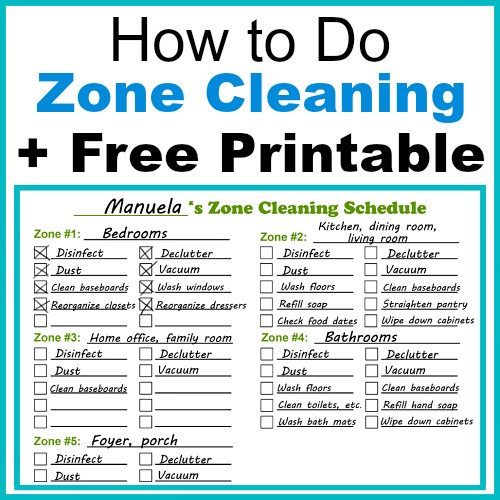 How to Do Zone Cleaning + Free Printable Zone Cleaning Schedule - housework schedule