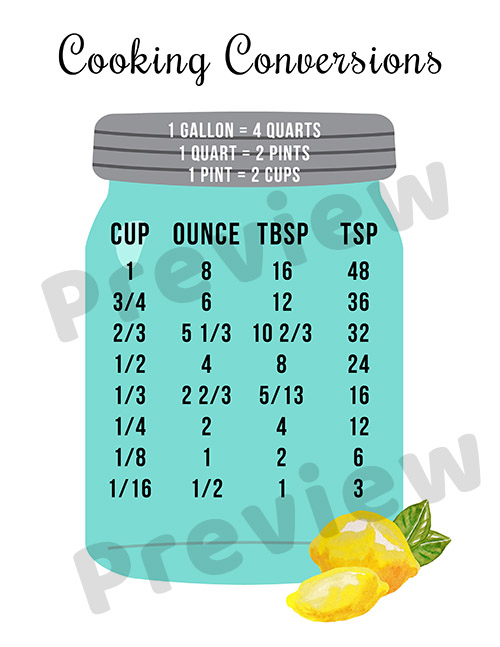 Free Printable Kitchen Cooking Conversions Chart- Handy Reference