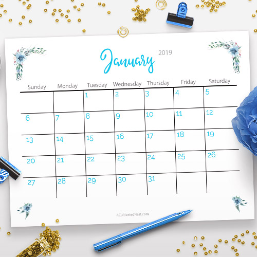 Free Printable 2019 Calendar Watercolor Flowers- A Cultivated Nest