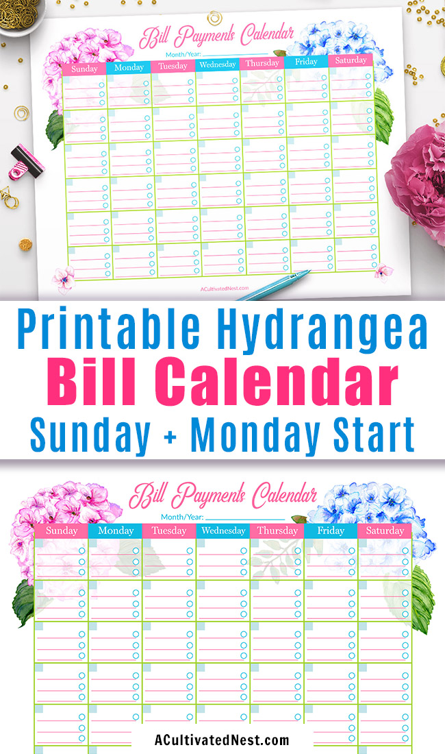 Printable Bill Payments Calendar Hydrangeas- A Cultivated Nest