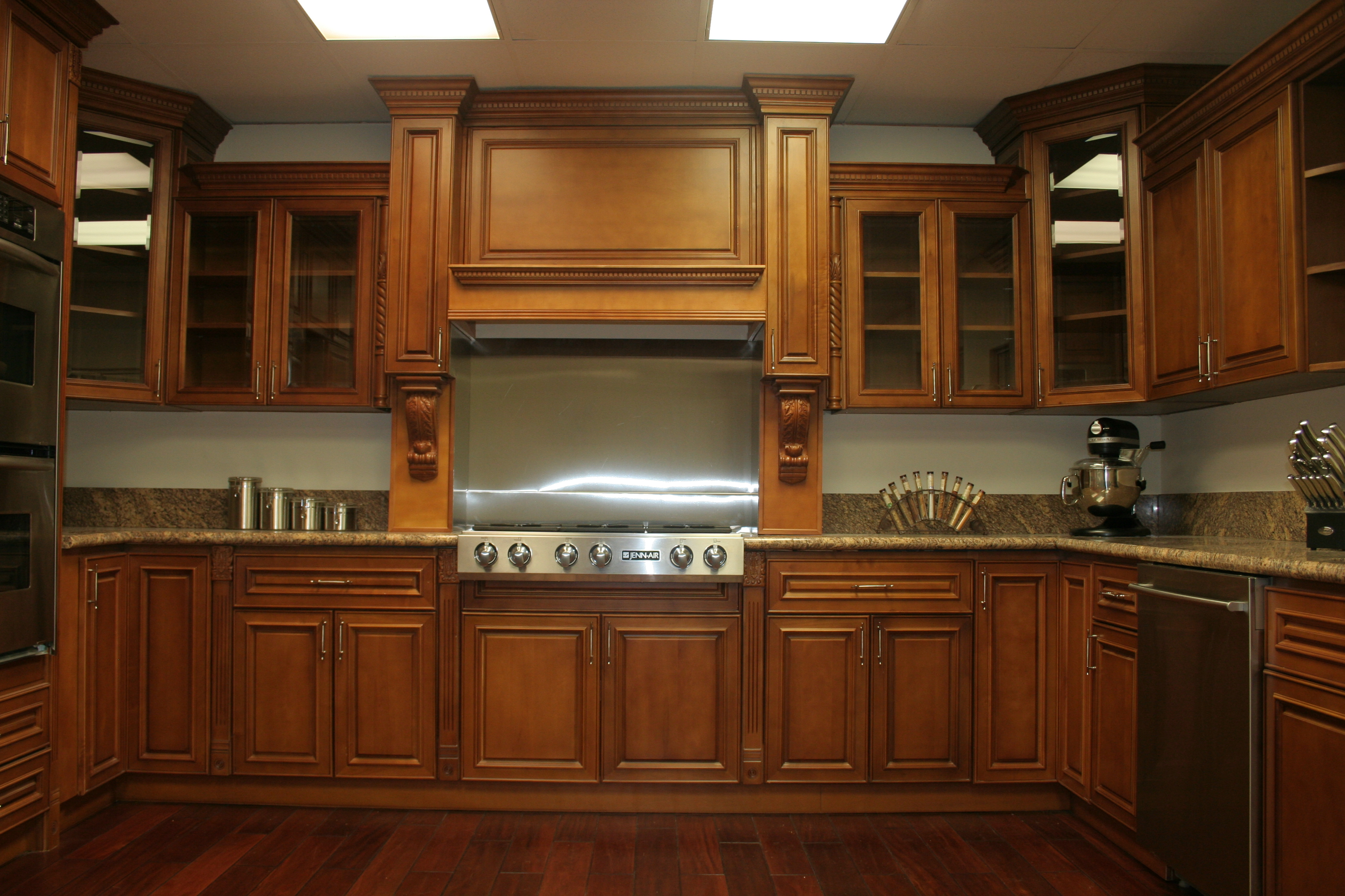 Inside Of Kitchen Cabinets Interior Ideas Deep Brown Wooden Maple Kitchen Cabinets