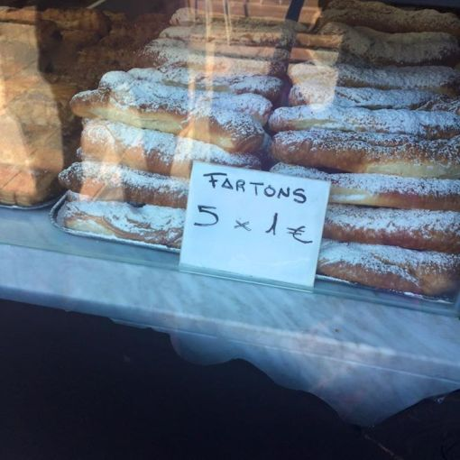 Fartons in a Spanish bakery...maturity of a ten year old!