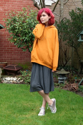 hoodie and pleated skirt