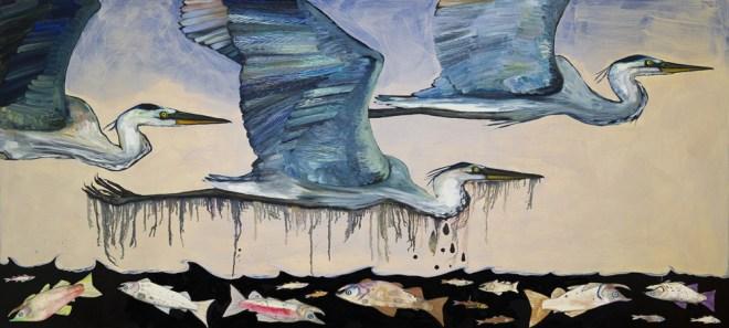 Blue Herons Oil Spill - by Eli Halpin